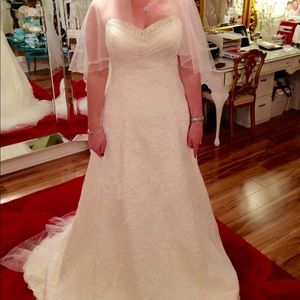 One-of-a-kind Lace, beaded, A-line wedding dress
